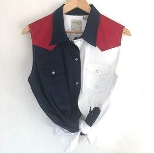 Red White & Blue Sleeveless Pearl Snap Shirt XL